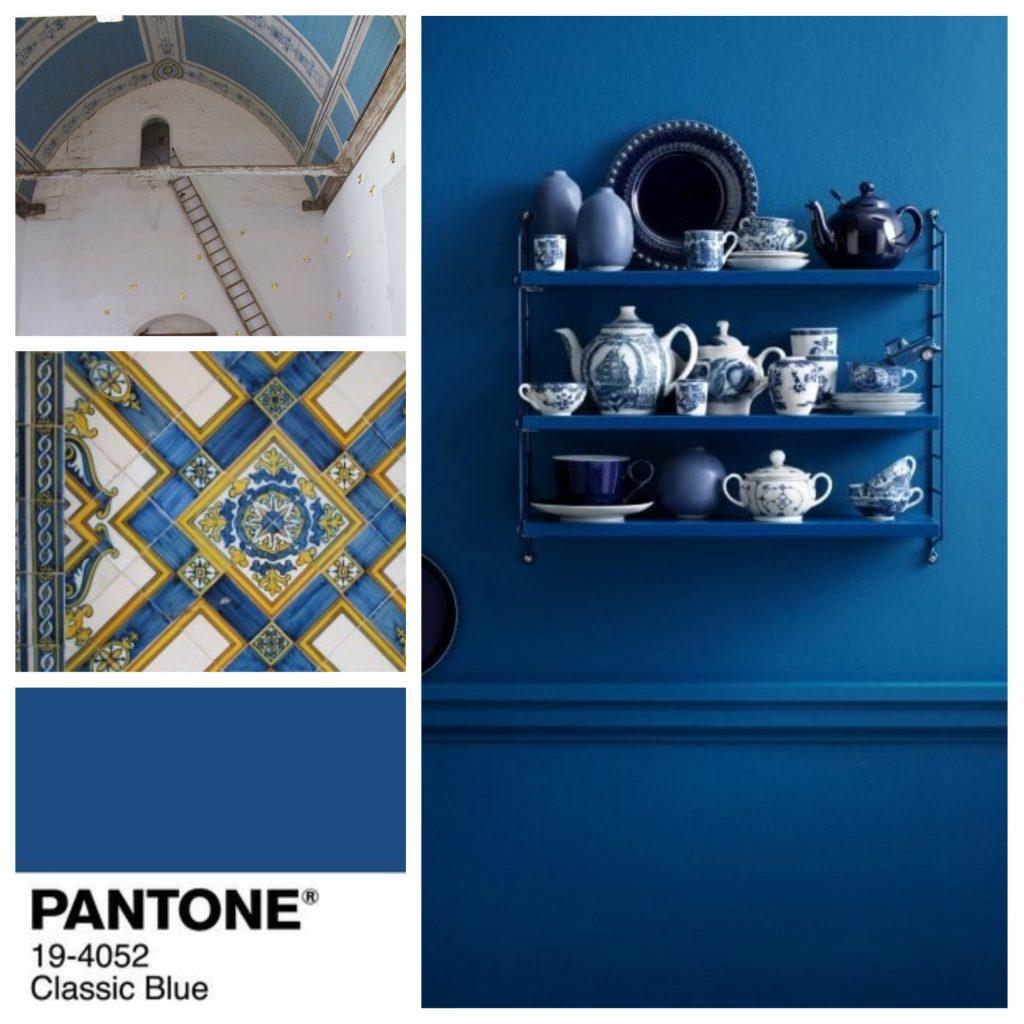 planche tendance, moodboard Pantone, classic bluel, sylvie Guénézan, architecte d'intérieur à Lille. Potentiel maison