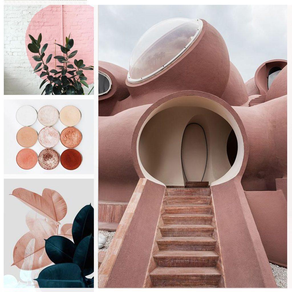planche tendance, moodboard Antti Lovag, sylvie Guénézan, architecte d'intérieur à Lille. Potentiel maison