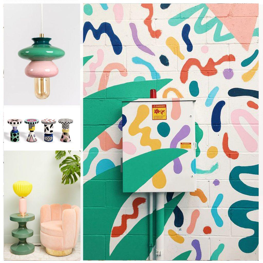 planche tendance, moodboard mur peint, sylvie Guénézan, architecte d'intérieur à Lille. Potentiel maison