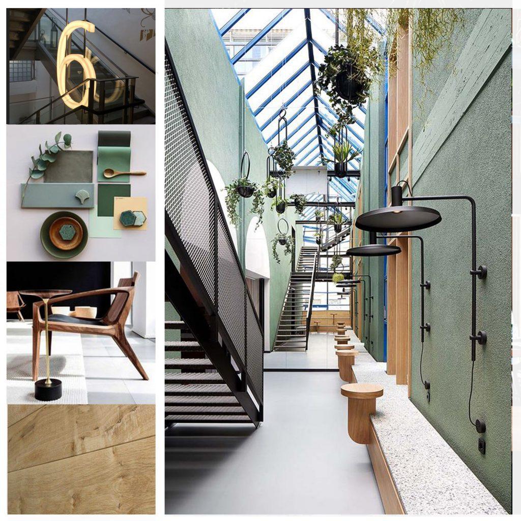 planche tendance, moodboard bureaux verts, sylvie Guénézan, architecte d'intérieur à Lille. Potentiel maison