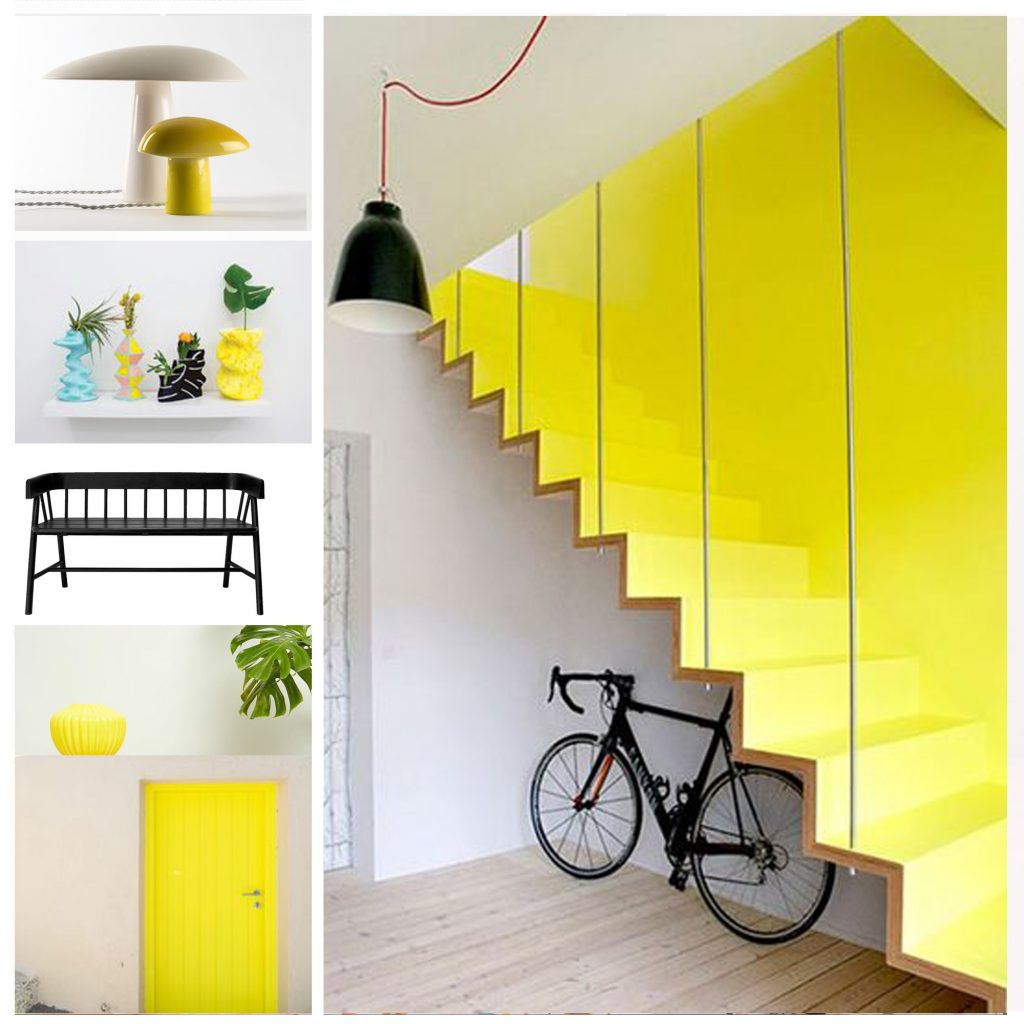 planche tendance, moodboard blanc et jaune, sylvie Guénézan, architecte d'intérieur à Lille. Potentiel maison