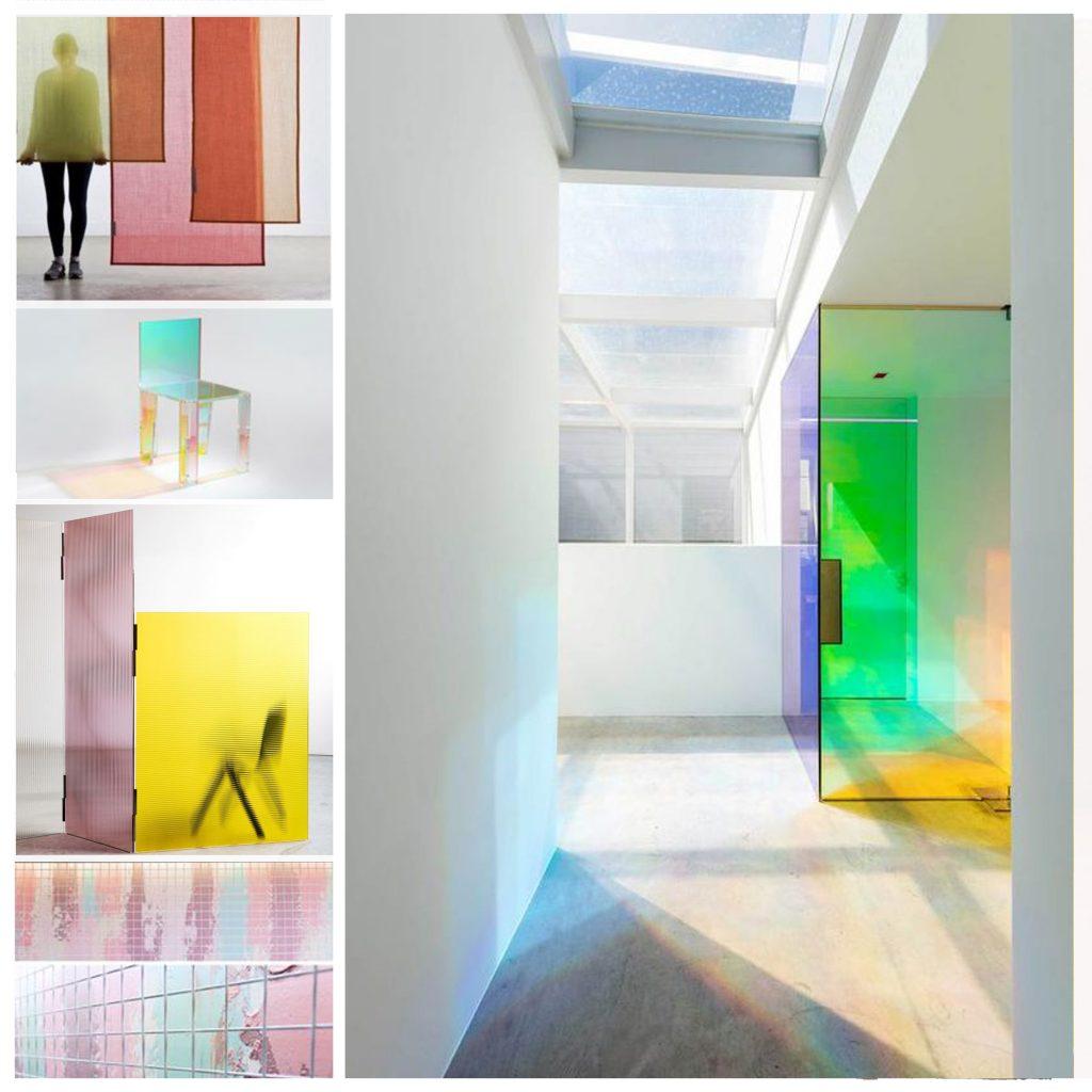 planche tendance, moodboard couleur  acidulées et translucides sylvie Guénézan, architecte d'intérieur à Lille. Potentiel maison