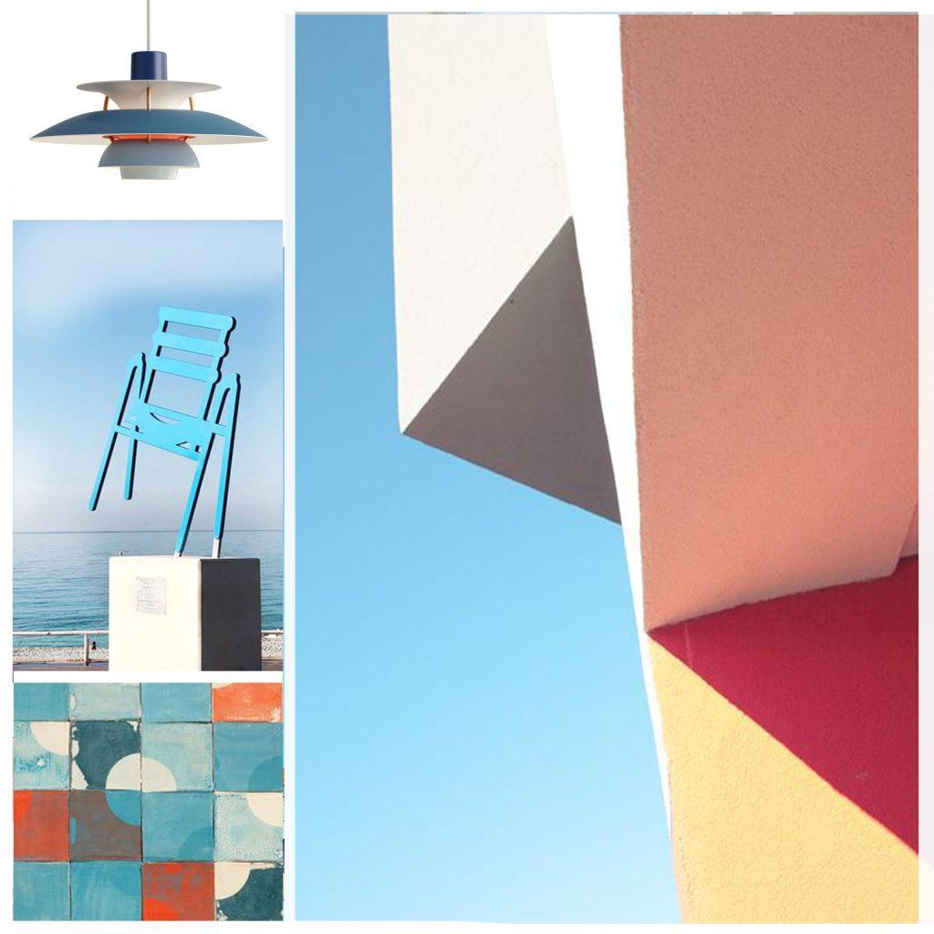 planche tendance, moodboard couleur pastel, sylvie Guénézan, architecte d'intérieur à Lille. Potentiel maison