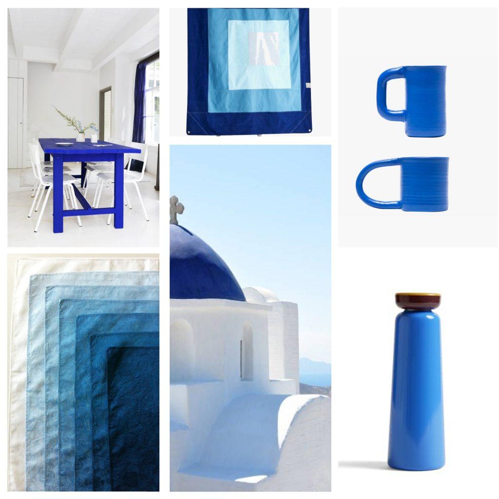 planche tendance, moodboard bleu grec, sylvie Guénézan, architecte d'intérieur à Lille. Potentiel maison