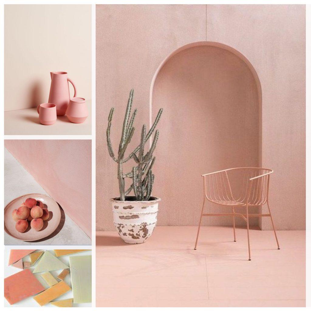 planche tendance, moodboard rose poudré, sylvie Guénézan, architecte d'intérieur à Lille. Potentiel maison