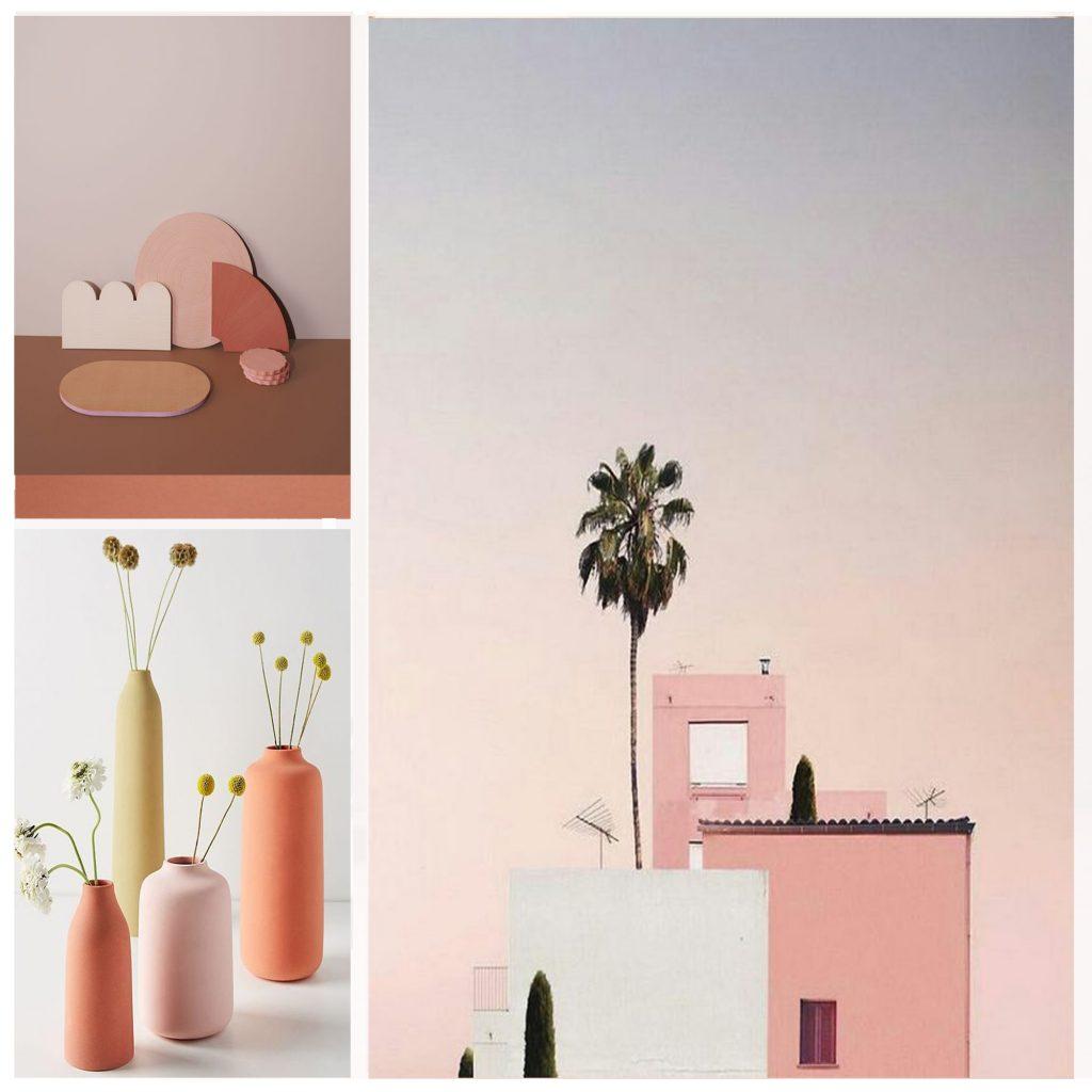 planche tendance, moodboard rose, sylvie Guénézan, architecte d'intérieur à Lille. Potentiel maison