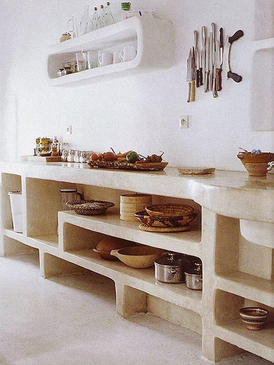 cuisine maçonnée.  Meuble en maçonnerie pour la cuisine