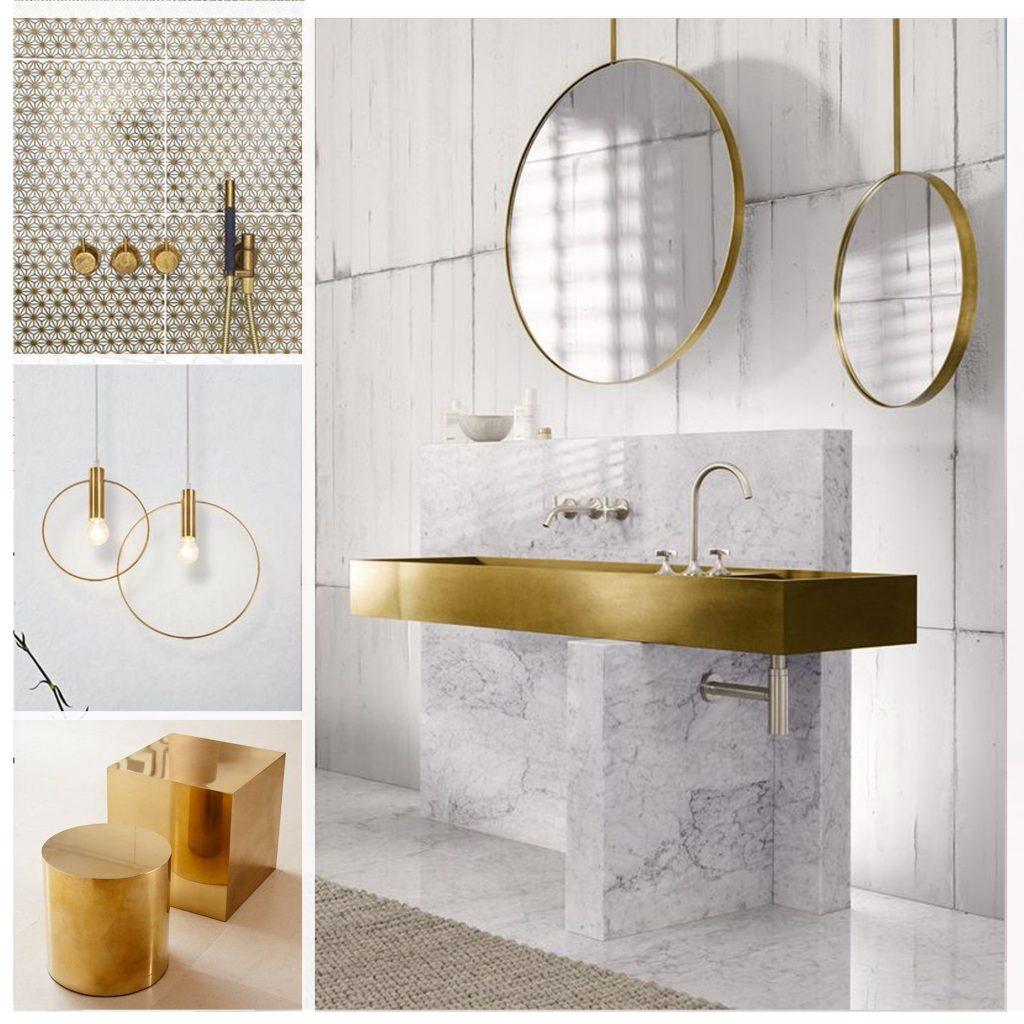 planche tendance, moodboard blanc et or, sylvie Guénézan, architecte d'intérieur à Lille. Potentiel maison