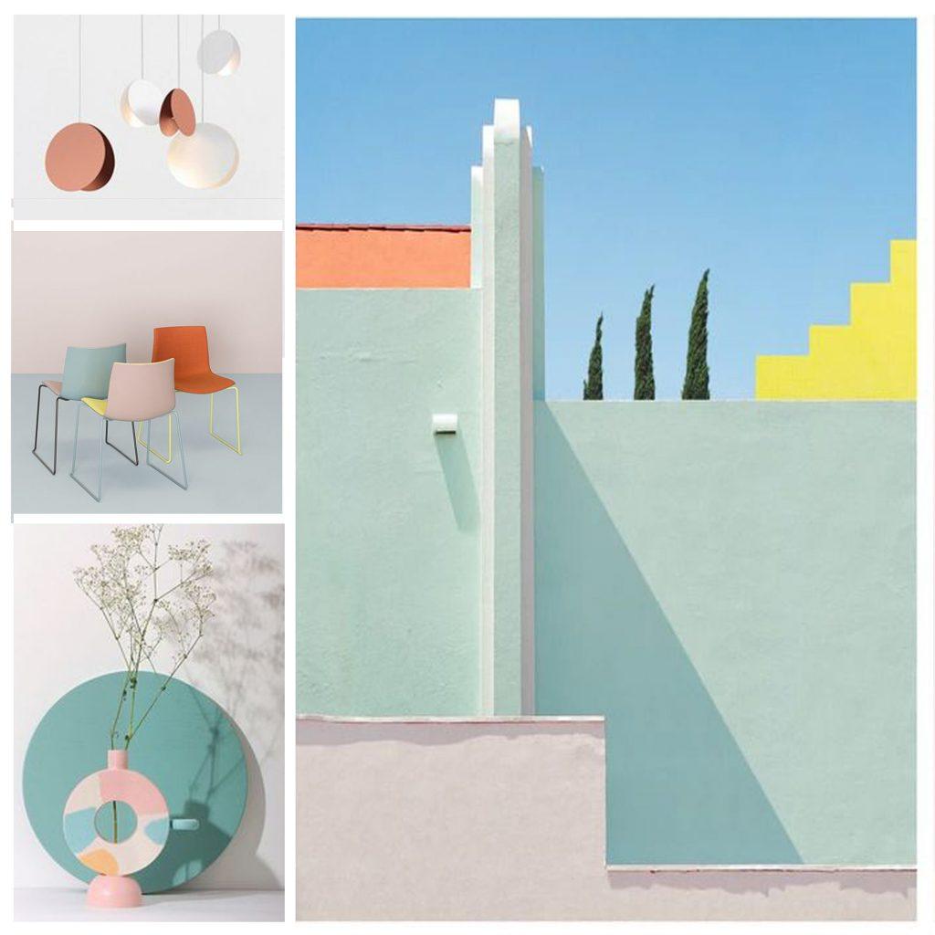 planche tendance, moodboard mur peint, sylvie Guénézan, architecte d'intérieur et décorateur à Lille et haut-de-france. Potentiel maison