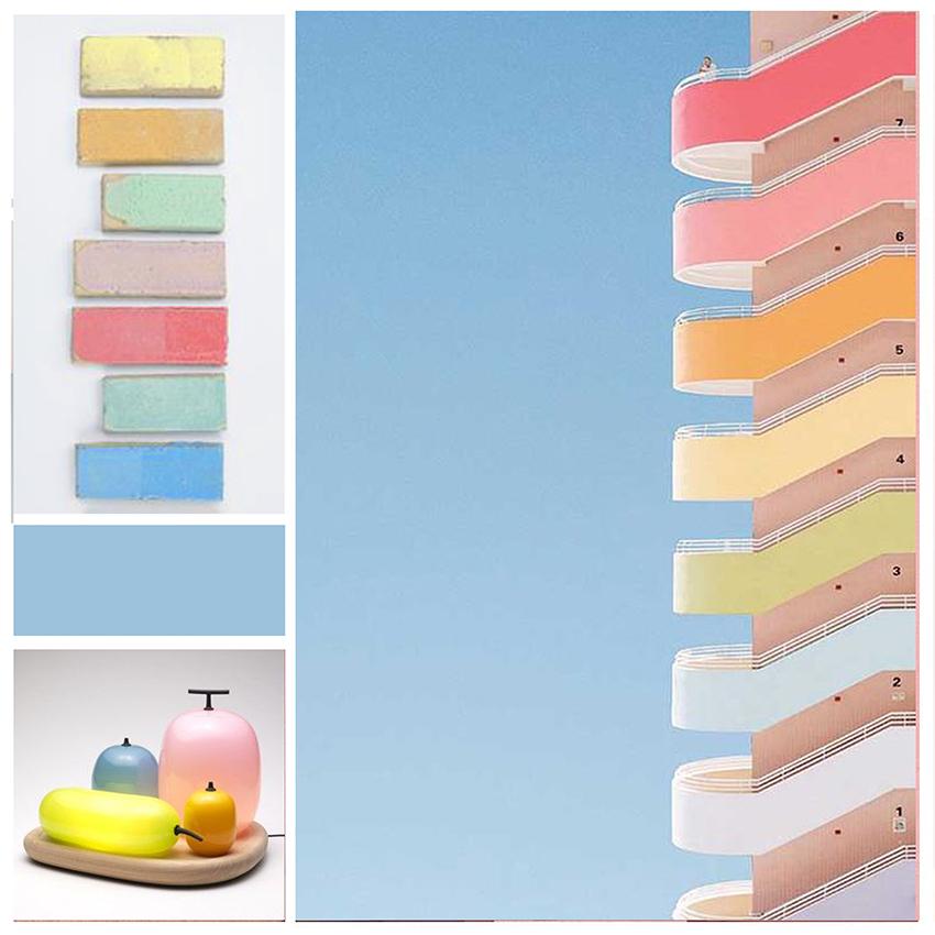 planche tendance, moodboard , mur pastel, sylvie Guénézan, architecte d'intérieur et décorateur à Lille et haut-de-france. Potentiel maison
