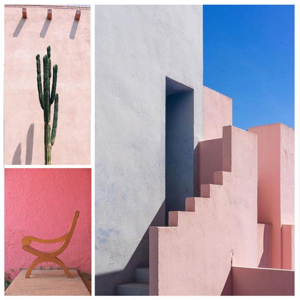 planche tendance, moodboard , mur pastel,barragan, sylvie Guénézan, architecte d'intérieur et décorateur à Lille et haut-de-france. Potentiel maison