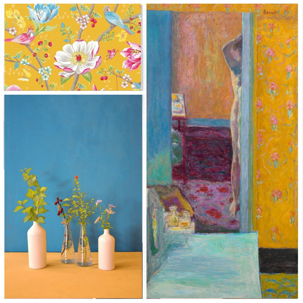 planche tendance, moodboard ,papier peint, pierre bonnard,pastel, sylvie Guénézan, architecte d'intérieur et décorateur à Lille et haut-de-france. Potentiel maison