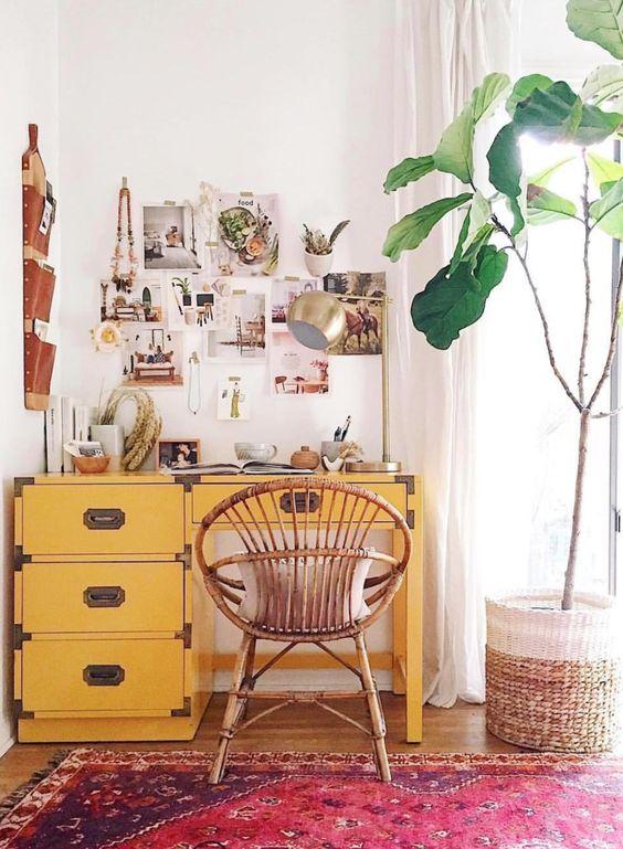 relooking bureau, meuble peint vintage