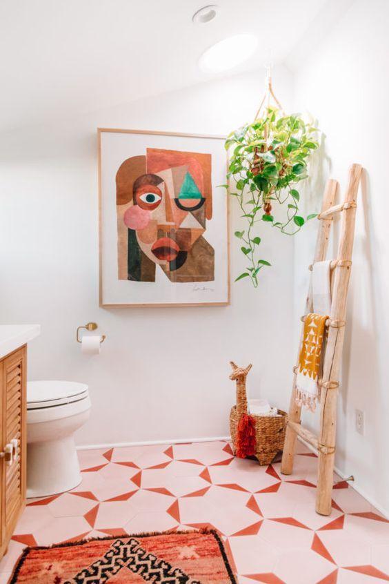décoration salle d'eau, petite salle de bain déco, salle d'eau rose, pink bathroom