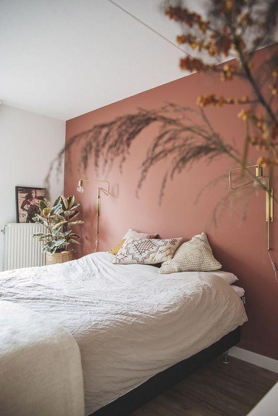 linge de lit terracota, housse de couette couleur terracotta, housse de couette en lin couleur blanche, housse de couette en lin brun, chambre couleur terracotta