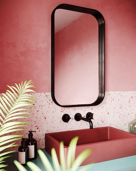 salle de bain rose, salle de bain couleur terracotta, granito, salle de bain granito, salle de bain déco moderne