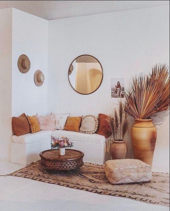 ambiances bohèmes, décoration ambiance bohème, décoration ambiances hippies, couleur terracotta accessoires, décoration avec des coussins, salon terracotta