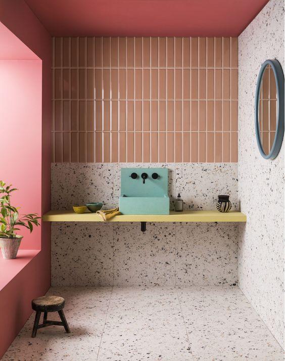 salle-de-bain, tendances 2020, salle de bain colorée, carrelage salle de bain