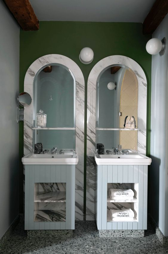 salle d'eau, double vasque, meuble double vasque bleu