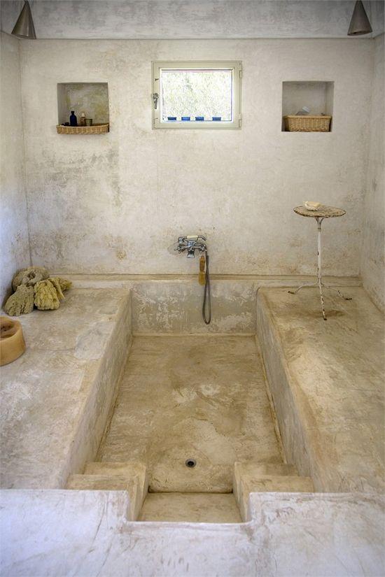 salle de bain creusée, salle de bain thalasso, salle de bain, baignoire semi enterrée, baignoire au ras du sol, baignoire semi encastrable
