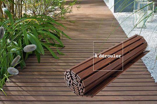 caillebotis bois pour terrasse en rouleau, caillebotis bois pour balcon à dérouler