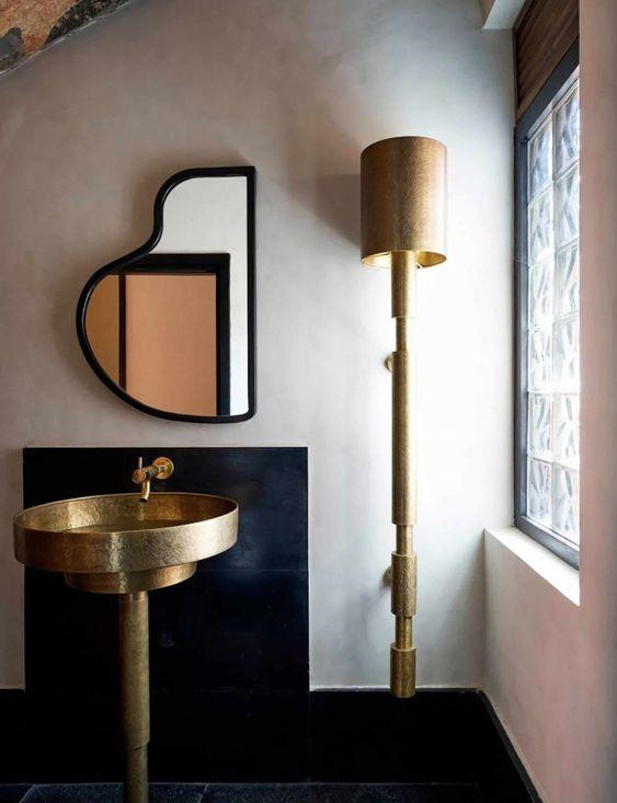 lavabo design, lavabo sur pied, lavabo laiton