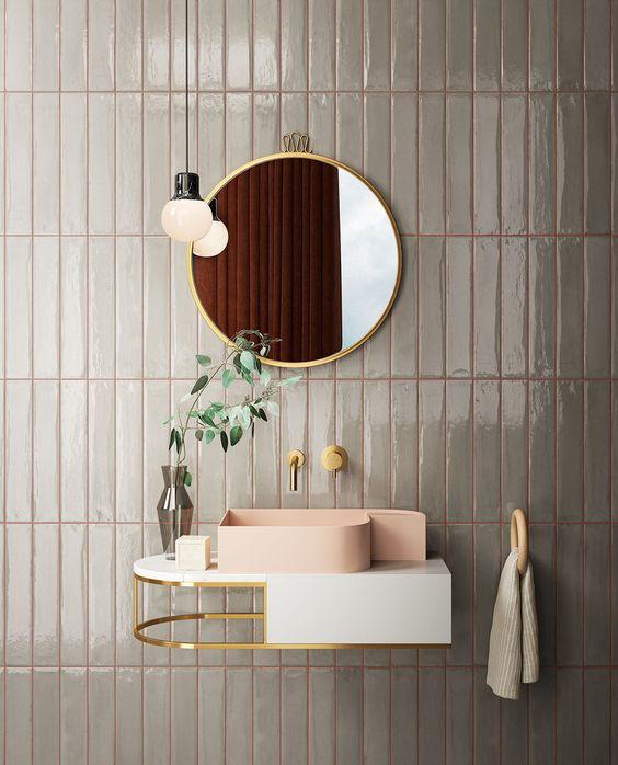 lavabo design, lavabo moderne, faience grise, zellige gris, joint coloré