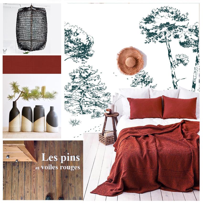 décoration chambre, papier peint panaoramique, draps lins rouges