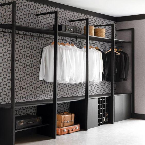 dressing chambre, dresiing modulable, dressing en kit, beau dressing noir , dressing pour homme
